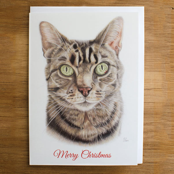 Tabby Cat Greeting Card - Preview image  British Wildlife Art