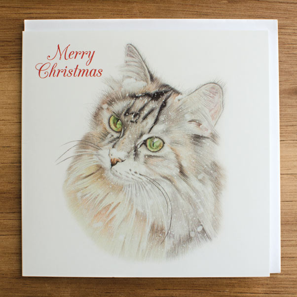 British Wildlife - Christmas Cat Greeting Card