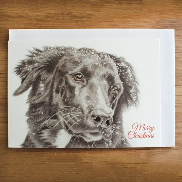 Christmas Dog Greeting Card - Preview image  British Wildlife Art